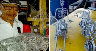 Questo artista filippino trasforma fili di alluminio in miniature di motociclette ed automobili