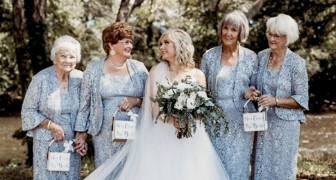 A bride and groom chose their grandmothers as bridesmaids for their wedding