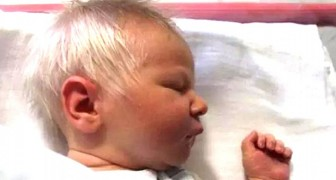 This adorable baby boy was born with a thick head of white hair, but he is not an albino