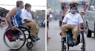 Deze dappere vader met een handicap brengt zijn zoon elke dag in een rolstoel naar school