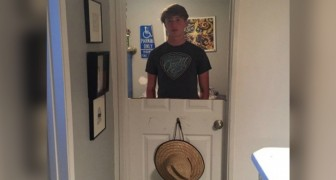 A teenager constantly slams his bedroom door and as punishment, his father cuts the door in half