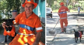 Deze hond met het uniform van een straatveger vergezelt elke dag de man naar zijn werk die hem van de straat redde