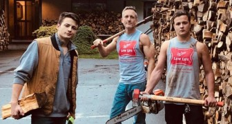 A father and his two sons cut more than 30 tons of firewood to give to needy families