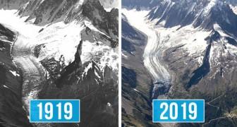 De Mont Blanc-gletsjer 100 jaar later: de foto's tonen de schade van de opwarming van de aarde