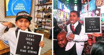Un enfant de 6 ans célèbre la fin de la chimiothérapie en prenant sa dernière pilule entouré de ses proches