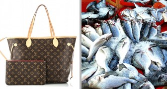 Er schenkt seiner Großmutter eine Louis Vuitton-Tasche und die Großmutter benutzt sie, um den Fisch den sie auf dem Markt gekauft hat zu transportieren
