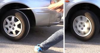 Deze jongen toont een praktische truc om een auto te starten met een lege accu met behulp van een touw