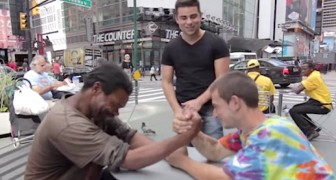 Two homeless  arm wrestle for money, but what happens next is amazing