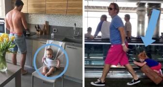 16 foto mostrano le soluzioni più stravaganti che i padri adottano quando rimangono da soli con i propri figli