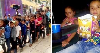 De leerlingen van deze arme school gaan voor het eerst naar de bioscoop dankzij het geld dat de professor heeft verzameld