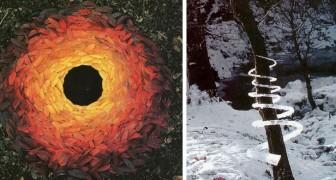 Deze beeldhouwer maakt kunstinstallaties in de openlucht met alleen natuurlijke materialen