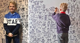 At school, they scolded him because he never stops drawing but he is hired to decorate a wall in a restaurant