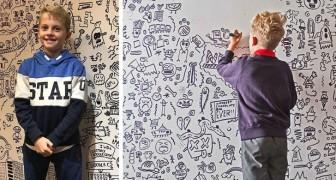 Op school zijn ze boos op hem omdat hij niet stopt met tekenen: een restaurant neemt hem aan om een muur in een zaal te versieren