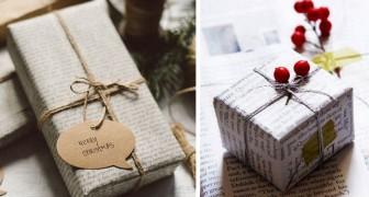 Empacotar os presentes de Natal com folhas de jornal: é uma ideia original que ajuda o meio ambiente