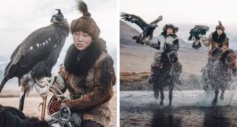 Deze tot de verbeelding sprekende foto's tonen een van de laatste nomadenvrouwen die nog een adelaar gebruikt om te jagen
