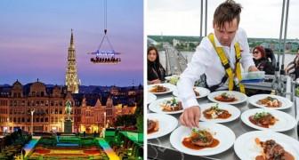 In Athene is er een zwevend restaurant waar je kunt genieten van een heerlijk diner op 40 meter hoog