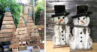 Riciclare i pallet per decorazioni natalizie dallo stile rustico: 19 idee originali