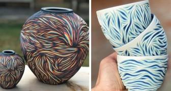 Deze jongen kerft keramische voorwerpen om onverwachte kleurlagen te onthullen die zich eronder bevinden