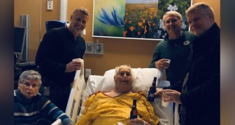 Hij drinkt het laatste biertje in het ziekenhuis voordat hij sterft: zijn familie vervult de laatste wens van opa