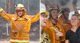 Il pleut en Australie : les pompiers qui luttent contre les graves incendies célèbrent l'événement en dansant de joie