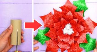 Il tutorial passo dopo passo per creare splendide stelle di Natale con i rotoli di carta igienica