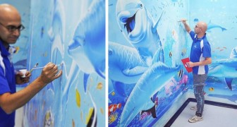 Questo artista italiano trasforma le grigie pareti degli ospedali in magici acquari