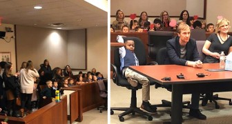 This young boy's entire class went with him to court to support him during his adoption hearing