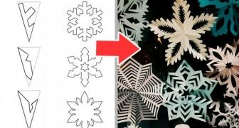 16 idee semplicissime per ottenere magici fiocchi di neve da un semplice foglio di carta