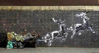 Banksy trasforma un senzatetto in Babbo Natale per sensibilizzare tutti sul tema della solidarietà