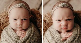Ses parents lui font une séance photo mais le bébé ne fait aucun sourire : il a déjà l'air énervé