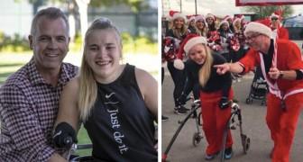 Esta mulher com paralisia cerebral treinou por meses para terminar a corrida de Natal da sua cidade