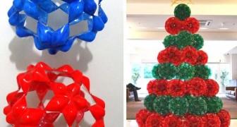 12 idee brillanti per riciclare le bottiglie di plastica e trasformarle in splendide decorazioni natalizie