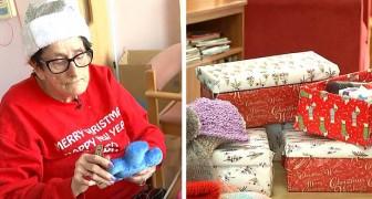 Deze oma die zich in een hospice bevindt, pakt cadeaus in voor behoeftige mensen, door zichzelf en anderen te helpen