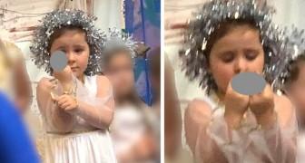 Cette enfant a passé toute la représentation de Noël à montrer son doigt d'honneur au public