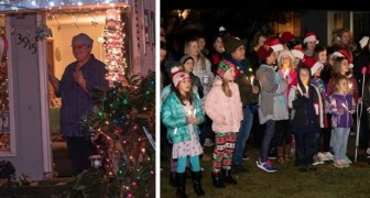 Students surprise their teacher who is ill by organizing a Christmas choir in her garden