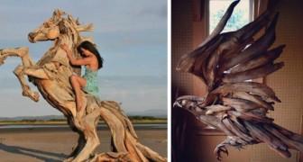 Il transforme le bois traîné par la mer sur le rivage en de magnifiques sculptures d'animaux sauvages