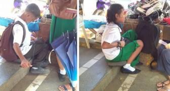 Deze twee kinderen repareren schoenen voordat ze naar school gaan om hun lunch te kunnen betalen en hun studie voort te zetten