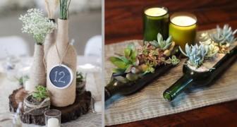 20 spunti creativi per riciclare le bottiglie di vino ottenendo eleganti decorazioni per tutti gli usi