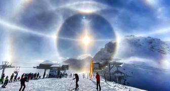Uno sciatore è riuscito a immortalare lo splendido fenomeno dell'alone di ghiaccio sulle Alpi svizzere