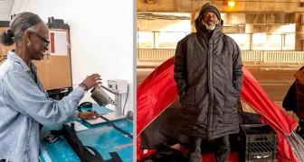 En tjej anställer hemlösa för att sy kappor som blir sovsäckar till de som har det svårt