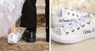 Immer mehr Bräute entscheiden sich dafür, bei der Hochzeit keine Absätze zu tragen: lieber bequeme und elegante Turnschuhe