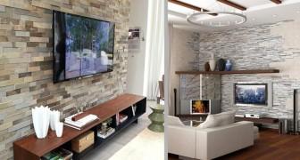 16 progetti creativi per rivestire in pietra la parete della TV e rendere speciale il vostro salotto