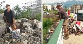 Nachdem er seinen Job verloren hat, säubert er jeden Tag Flüsse, Straßen und Parks vom Müll