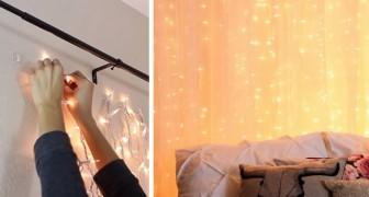 Il metodo ingegnoso ed economico per installare una romantica parete di luce in camera da letto
