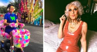 Diese junge 92-jährige Großmutter in farbenfrohen Kleidern und Teenager-Posen ist eine echte Web-Prominenz