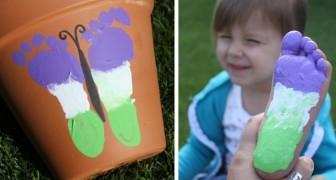 Il metodo creativo e divertente per decorare i vasi con farfalle dipinte dalle impronte dei piedi
