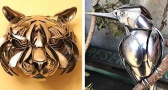 Deze kunstenaar modelleert bestek en keukengerei om prachtige dierensculpturen te maken