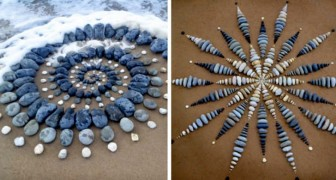 Deze jongen maakt fascinerende geometrische kunstwerken op het strand met behulp van gekleurde stenen