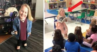De retade henne för att hon lider av en ovanlig form av kortvuxenhet, idag lär hon barn att acceptera olikheter