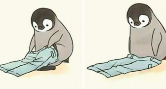 Questo artista ha disegnato scene di vita quotidiana con protagonista un pinguino tenero ma impacciato